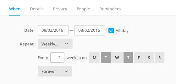 Flat look for calendar form