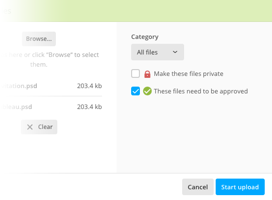 Upload file window with file approval enabled