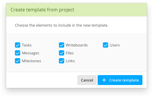 Template creation options dialog box