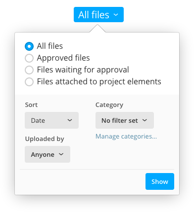 Filters and view options for the file list