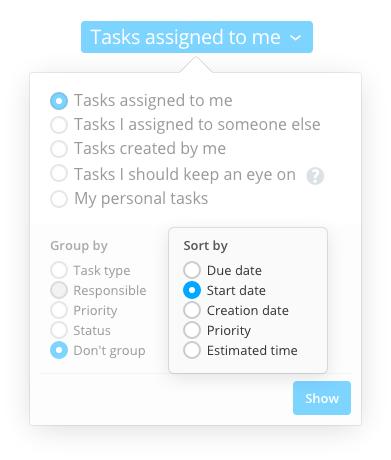 The new task sorting methods