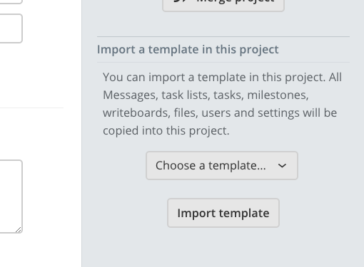 The 'Import template' block in the project settings