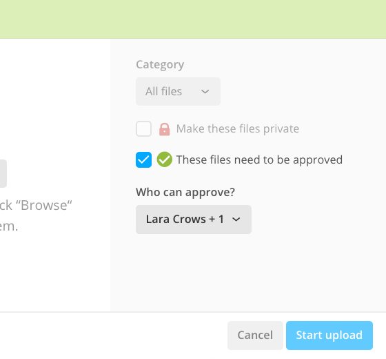 Approval options in the file upload form