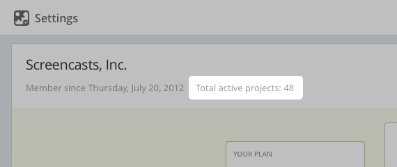 Project count in Your plan