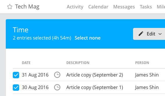 Time sub-total in page header
