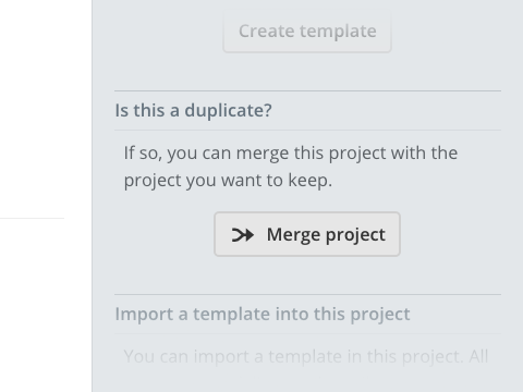 Right side block asking to merge the project