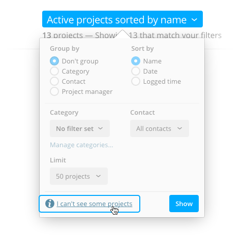 Project list filter popup