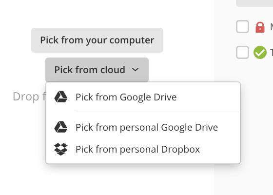 Browse buttons in the Upload file window
