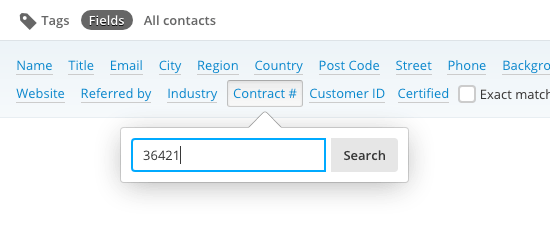 Filtering the contact list with custom fields